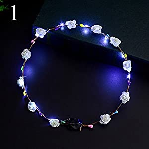 FYYDNZA 1Pcs Children'S Princess Birthday Gift Glowing Light Garland Headband Hair Accessories Bridal Wreath Led Lights Wreath For Head 53