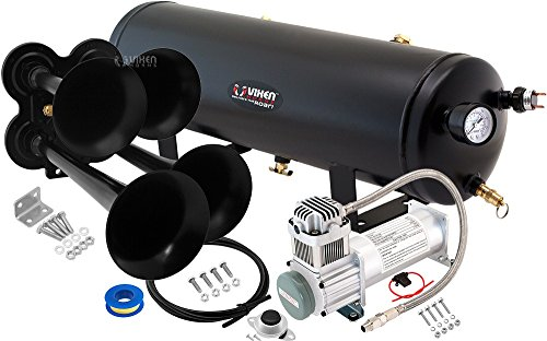 (Vixen Horns Loud 149dB 4/Quad Black Trumpet Train Air Horn with 3 Gallon Tank and 200 PSI Compressor Full/Complete Onboard System/Kit VXO8330/4114B )