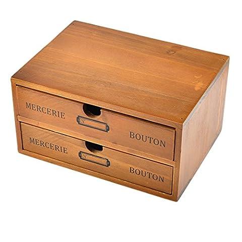 Storage Box, WOLFBUSH Household Essentials 2-Drawer Wooden Storage Chest Box Office Desktop Organizer New Zealand Pine