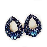 Bold N Elegant Blue Stone Crystal Inlaid Water Drop Shape Magnus Stud Earrings for Women