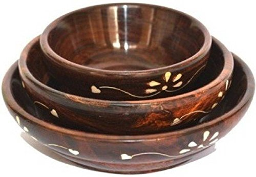 Cruz International Wooden Bowl Set  Brown