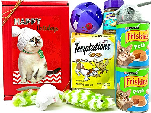 Christmas Holiday Cat Gift Box Basket for A Favorite Feline Fur Baby – Send These Treats and Toys to a Furry Cat/Kitten…