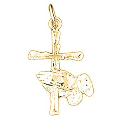 14K Yellow Gold Praying Hands /& Cross Charm Pendant 28mm Jewels Obsession Cross Pendant
