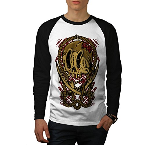 - wellcoda Pirate Dead Face Skull Men S Baseball LS T-Shirt