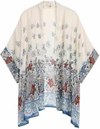 4062e7ce7f4 WEIYAN Women s Summer Tops Loose Chiffon Kimono Cardigan Beach Swim Cover up  Blouse