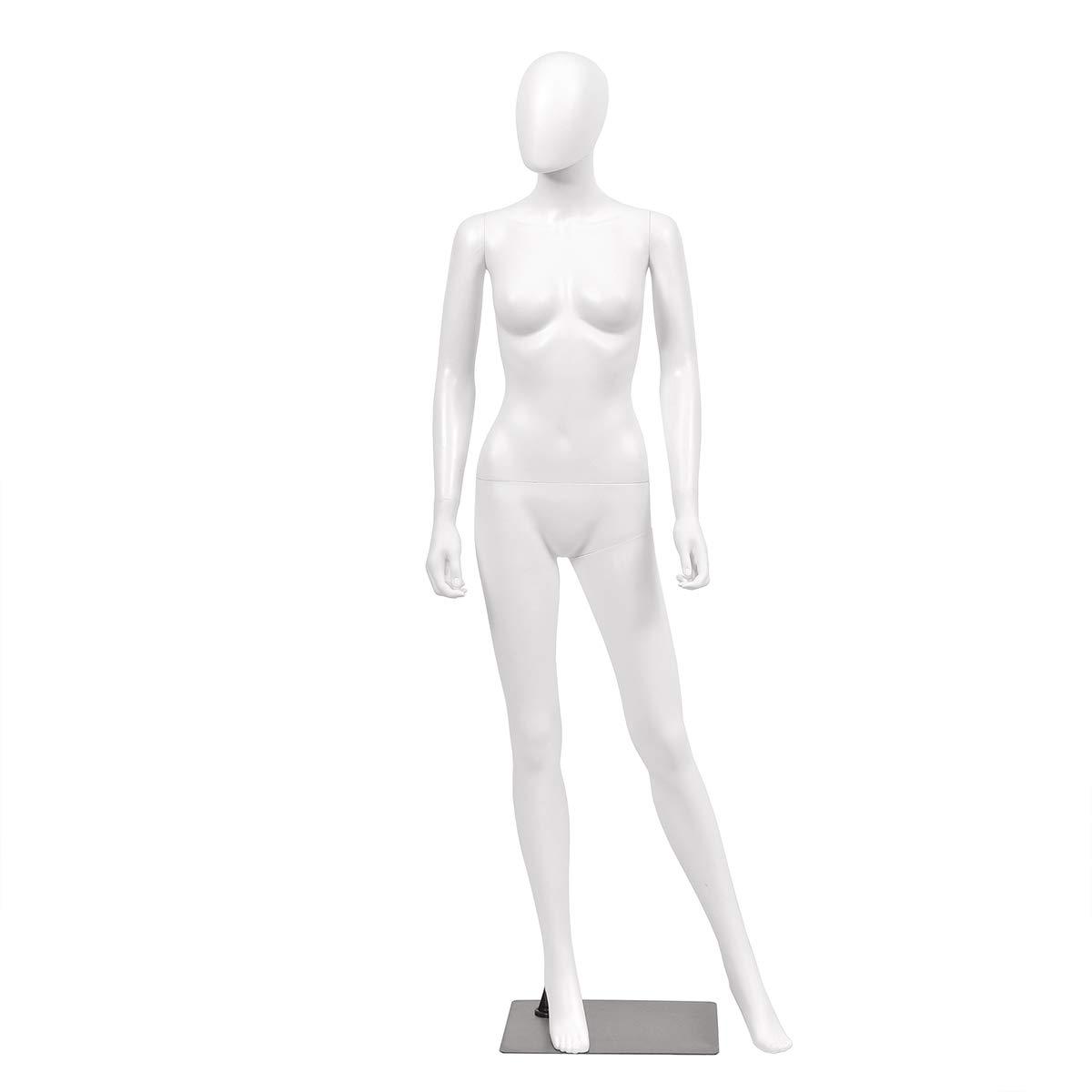 Giantex 5.8 FT Female Mannequin Egghead Manikin Metal Stand Plastic Full Body (White Style 2) by Giantex