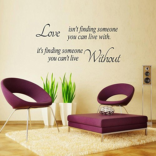 FANGLEE Love Isn't Finding Someone You Can Live with,It's Finding Someone You Can't Live Without Vinyl Wall Words Romantic Quotes Vinyl -