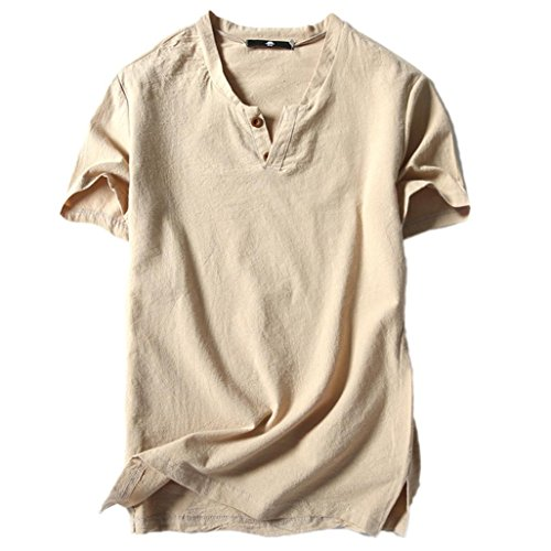 vermers Clearance Sale Men's Summer T Shirts Casual Linen and Cotton Short Sleeve V-Neck Tee Top(2XL, Beige)