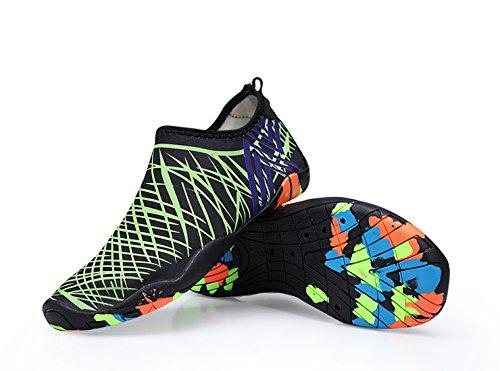 CIROHUNER Männer Frauen Leichte Multifunktionale Quick-Dry Aqua Wasser Schuhe für Beach Swim, Walk, Yoga Grün_b