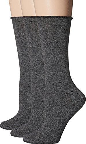 (HUE Women's Jean Socks 3-Pack Graphite Heather One)