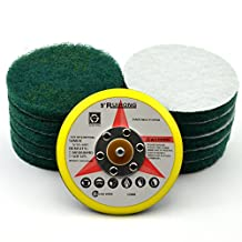 5-Inch Round Hook and Loop Commercial Scouring Pad with a 5/16-24 Inch Thread Sanding Pad Industrial Cleaning Cloth Kit, 10-Pack (240 Grit)