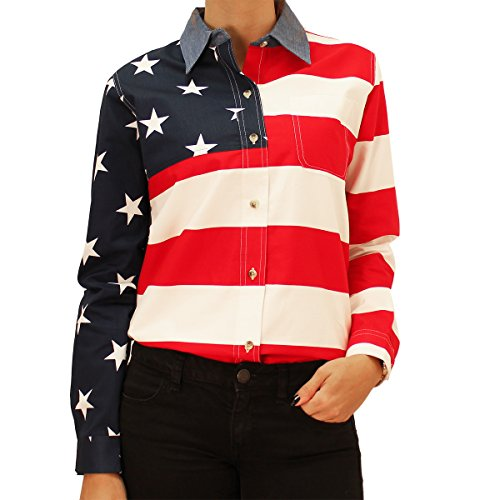 Woven Long Sleeve American Flag Women's Polo Shirt (Medium)