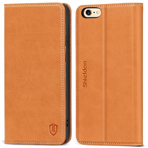 SHIELDON Genuine Leather iPhone 6 Wallet Folio Case Book Design with Kickstand and ID Credit Card Slots Magnetic Closure Compatible with iPhone 6/6S - Brown