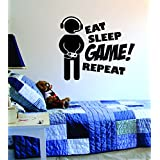 Eat Sleep GAME Repeat Version 2 Quote Decal Sticker Wall Vinyl Art Design Gamer Cool Funny Game Room