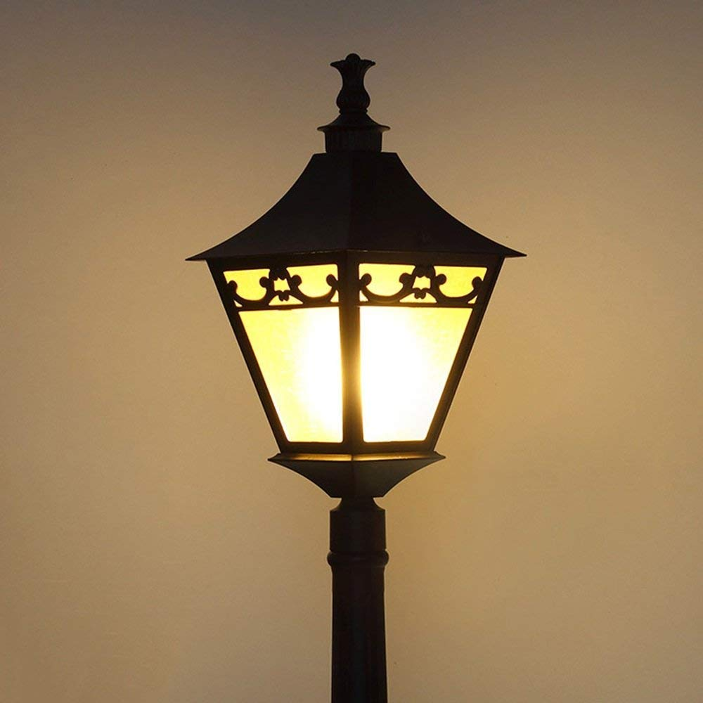 Hines Lanterna in vetro antico vittoriano europeo luce da giardino resistente alla corrosione 1-luce lampada da terra molo a LED luce di via villa E27 decorazione lampada colonna alberino impermeabile