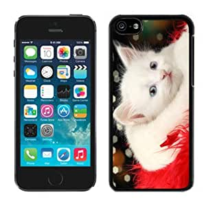 MEIMEI2014 Latest Lovely White Christmas Cat Red Fur Black Plastic Iphone 5c,Apple Iphone 5c Cover CaseMEIMEI