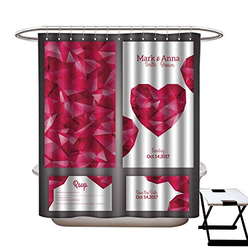 warmfamily Shower Curtain Art Print Polyester Wedding Invitation Cards Template with Abstract Polygonal Heart Shower CurtainW72 x L96 ()
