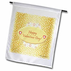 Edmond Hogge Jr Valentines Day - Gold and White Happy Valentines - 12 x 18 inch Garden Flag (fl_39559_1)