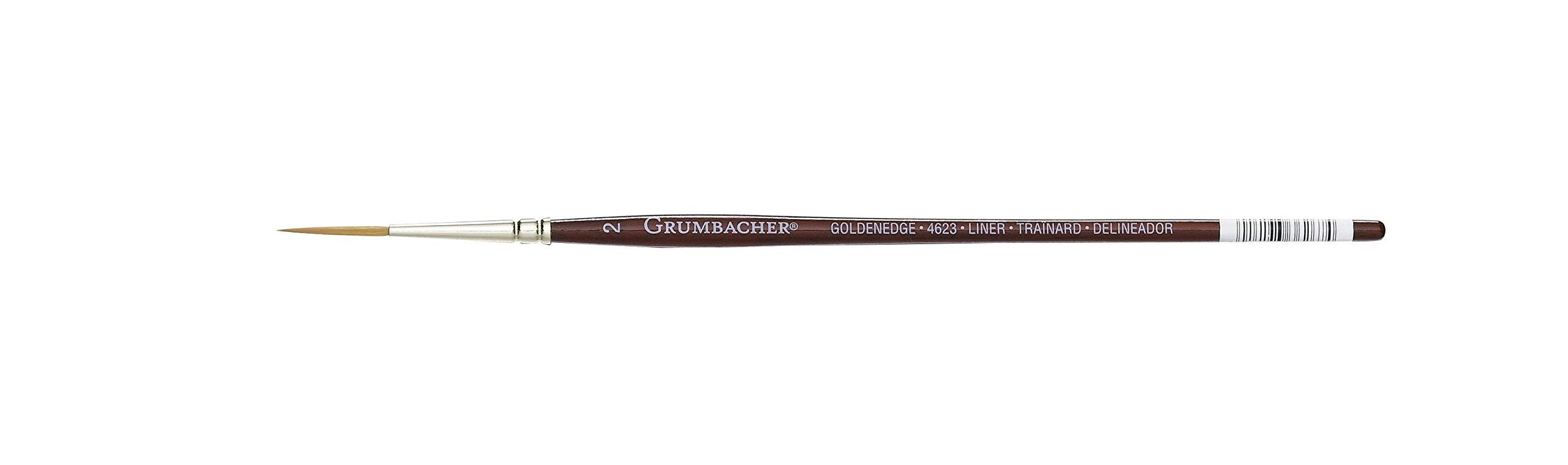 Grumbacher Goldenedge Golden Toray Liner Watercolor Brush, Synthetic Bristles, Size 2 (4623.2) by GRUMBACHER