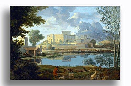Landscape with Calm (Nicolas Poussin) Aluminum Metal Photo Print Wall Art Wall Décor - - Landscape Nicolas Poussin