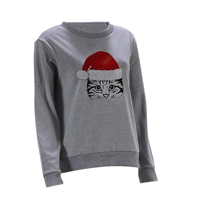 Sudaderas Mujer Invierno Elegantes Manga Largo Cuello Redondo Gatos Jersey Navidad Mujer Casuales Fashion Sudaderas Ropa Navidad Cute Jumper Sweatshirts ...