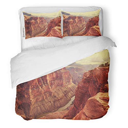 Semtomn Decor Duvet Cover Set Twin Size Landscape Grand Canyon Mountain Park Nature 3 Piece Brushed Microfiber Fabric Print Bedding Set Cover ()