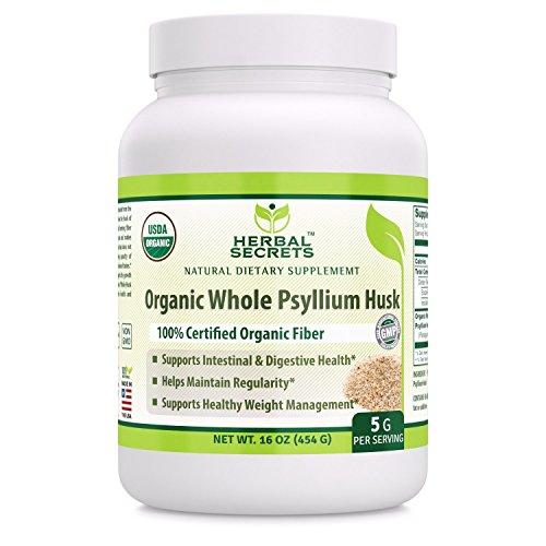 Herbal Secrets USDA Certified Organic Psyllium Husk 16 Oz - Vegan, dairy free, GMO free, gluten free, no sugar, and no artificial sweeteners - Certified Organic Fiber