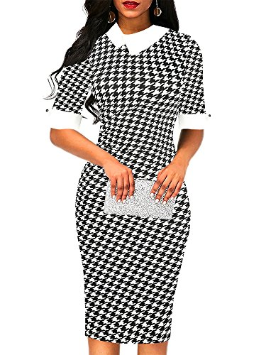 oxiuly Women's Retro Bodycon Knee-Length Formal Office Dresses Pencil Dress OX276 (XXL, Houndstooth) (Cotton Houndstooth Shirt Dress)