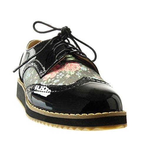 Angkorly - Scarpe da Moda scarpa derby low donna fiori intrecciato perforato Tacco zeppa piattaforma 2.5 CM - Nero