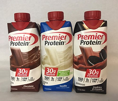 (Premier Protein High Protein Shakes - 4 Chocolate, 4 Vanilla, 4 Cookies & Cream (11 fl. oz., 12 pack))