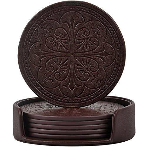 365park Drink Coasters, PU Leather Bar Beer Beverage Coasters for Drinks with Holder, Z006/Coffee, Set of 6