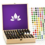 Essential Oil Wooden Box - Storage Case Protects 87-100 Bottles & Roller Balls. Large Organizer includes Removable Foam Padding and EO Labels. Keep Your Oils Safe & Protected.