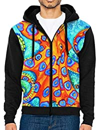 Men's Zip Front Hooded Sweatshirt Blue Ringed Octopus Lovers Slim Fit Outwear For Man