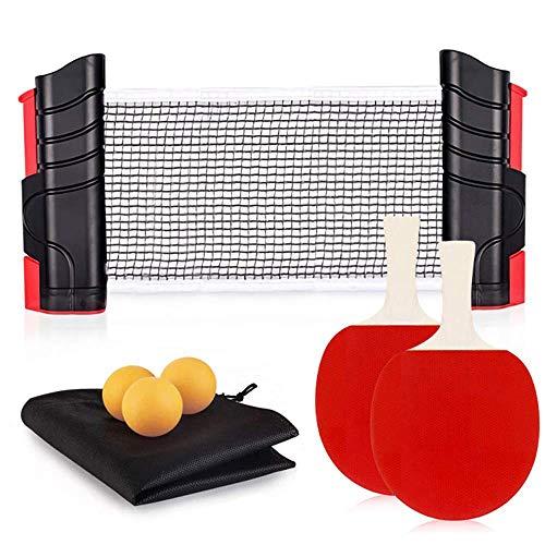 Bocotoer - Juego de pala de ping pong paralelo con red retractil, 2 raquetas de tenis de mesa, 3 pelotas para cualquier escritorio, juego en interiores o exteriores