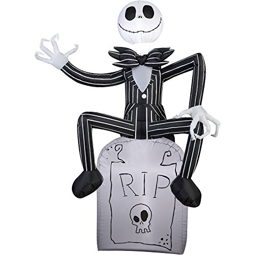 Halloween Inflatable Outdoor Scarecrow A Nightmare Before Christmas Jack Skellington On Tombstone Decoration Gemmy Airblow Inflatable 5' x 3.5'