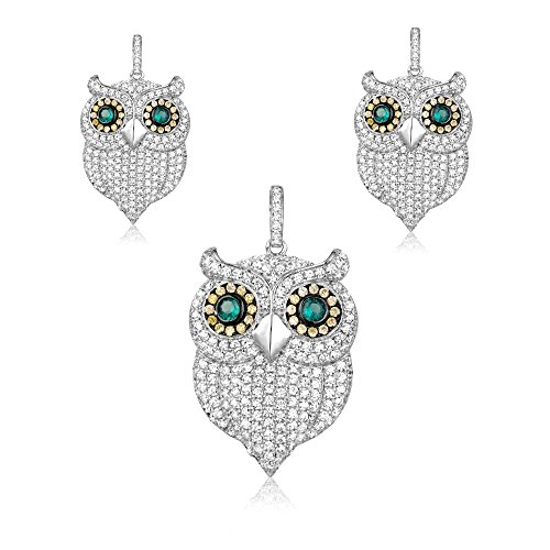 Parure : Pendentif et Boucles d'oreilles Hibou en Argent et Cristal Swarovski Cubic Zirconia -Blue Pearls-CRY J218-311 X