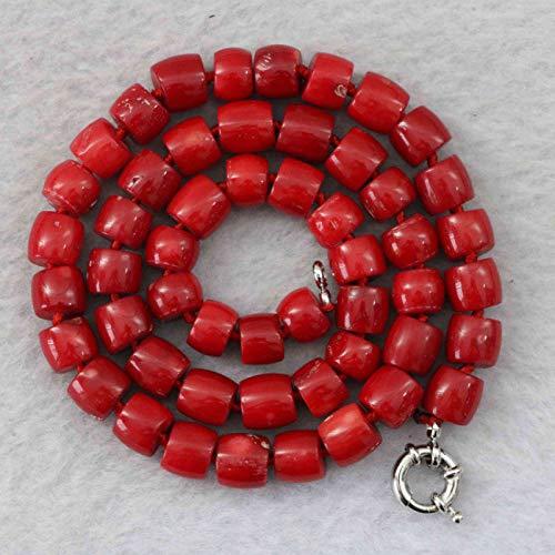 - FidgetKute Stone red Coral 8-10mm Irregular Abacus Bead Necklace Chain Gemstone 18