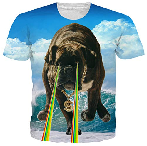 (Leapparel Unisex Over Size Male Humorous Lightning Sea Bulldog Print Hip Hop Humor Fun T Shirts Tees Tops XXL)