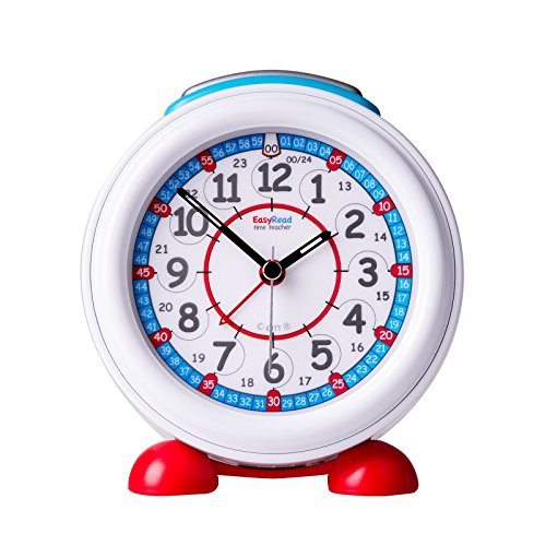 EasyRead Time Teacher Children's Alarm Clock with Night Light, 12 & 24 Hour Time, Red & Blue Clock ()