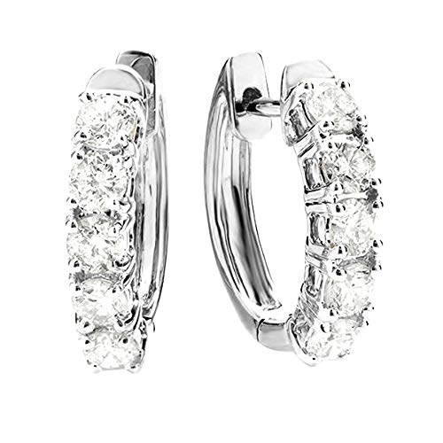 - 4 Carat t.w. Five Stone Diamond Hoop Huggie Earrings Value Collection 14K White Gold