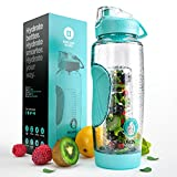 Infusion Pro 32 oz. Fruit Water Bottle Infuser Insulated Sleeve & Infusion eBook :: Bottom Loading, Large Cage More Flavor & Pulp Strainer :: Delicious, Healthy Way to up Your Water Intake