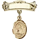 14kt Yellow Gold Baby Badge with St. Valentine of Rome Charm and Arched Polished Badge Pin 7/8 X 3/4 inches