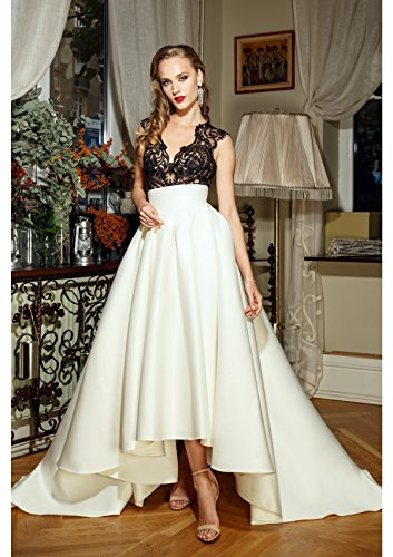 Satin High-Low Maxi Prom Party Skirts High Waist Pleated A Line Skater Dress Black Size 8