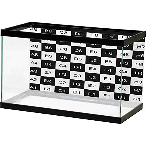 bybyhome Paper Aquatic Underwater Checkers Game,Monochrome Chess Board Design with Tile Coordinates Mosaic Square Pattern,Black White PVC Adhesive Decor