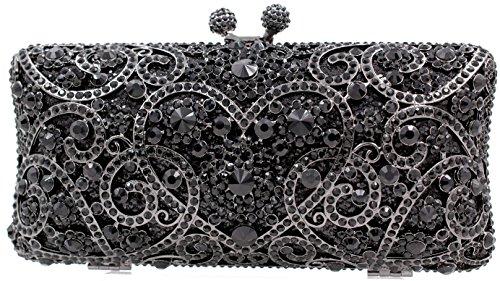 (Crystal clutch purse rhinestone bag Bridal Magestic Chest stones handmade Luxury (Black))
