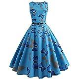 Womens Dresses Boatneck Sleeveless Vintage Tea Dress Belt 1950s Retro Cocktail Swing Party Dress by Chaofanjiancai Blue