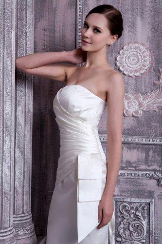 GEORGE knielangen Abendkleid traegerlosen BRIDE Einfache Weiß UqU1OP