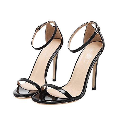 Women's 2017 Summer New Patent Leather Open Toe Ankle Strap Stiletto High Heels Sandals Party Pumps Black 0mteeSsDHp