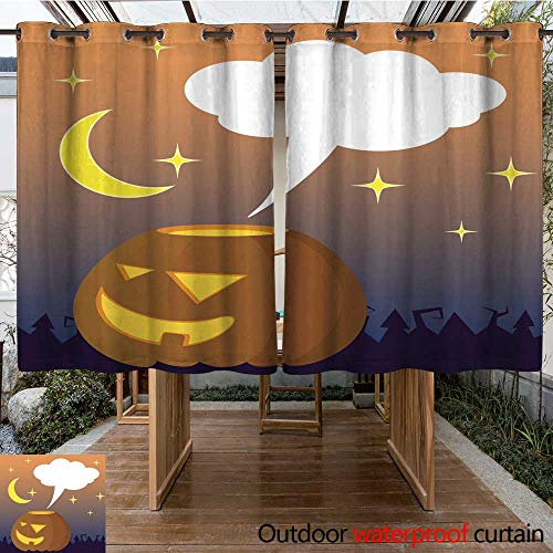 RenteriaDecor Outdoor Ultraviolet Protective Curtains Halloween Illustration with Orange Pumpkin and Text Place Empty Bubble Cloud for Greeting Message W96 x L72