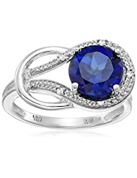 Created Sapphire and Diamond Accent Love Knot Ring in 10k White Gold, Size 5